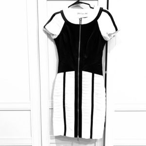 Black and white ruched bondage Karen Mullen Dress
